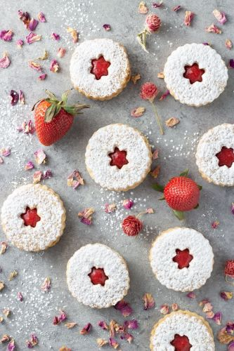 Linzer Cookies with Strawberry Rose Jam