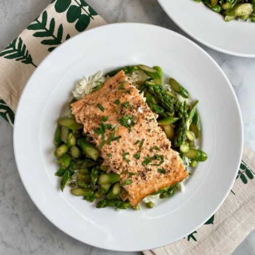 Salmon with Asparagus & Peas