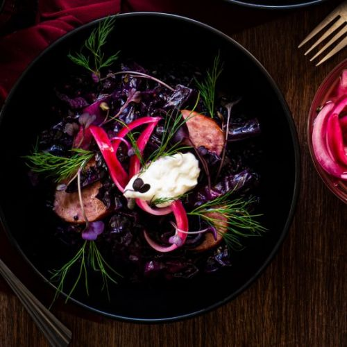Braised Red Cabbage with Kielbasa