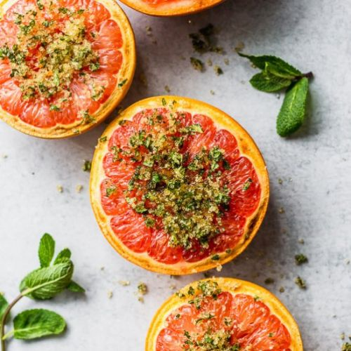 Broiled Grapefruit with Mint Sugar