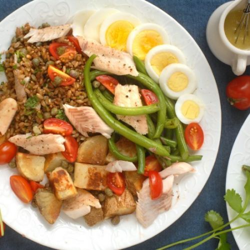 Green bean potato and trout salad
