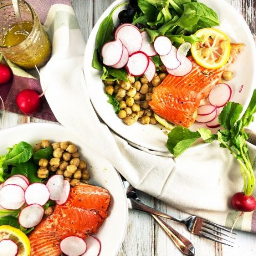 Salmon and Spicy Za'atar Chickpeas