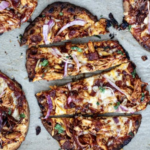BBQ Chicken Bacon Naan Pizzas