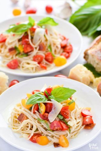 Simple Gluten Free Summer Spaghetti with Bacon