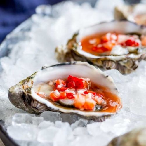 Oysters with Strawberry Mignonette