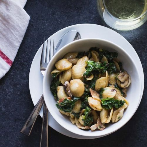 Pasta with Bacon, Mushrooms + Kale