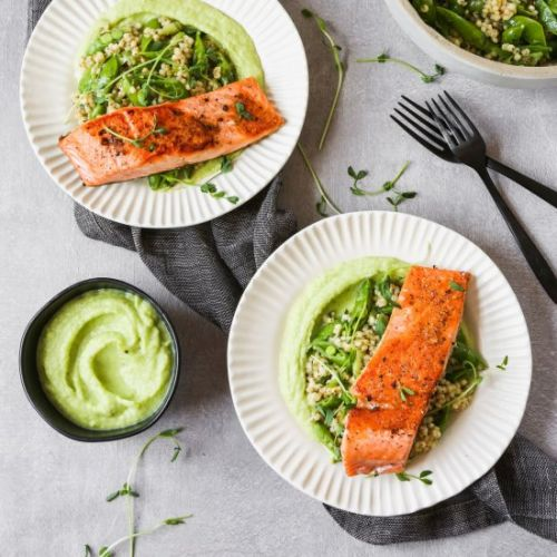 Pan Seared Salmon with Leek Purée