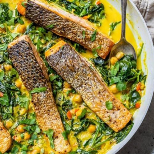 Salmon Coconut Curry with Spinach