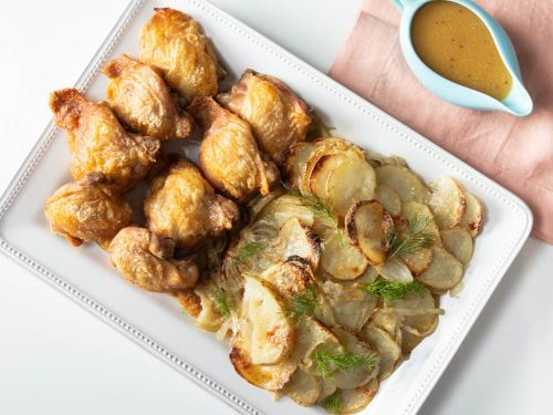 Sheet-Pan Chicken Thighs With Potatoes, Fennel, and Mustard-Beer Sauce