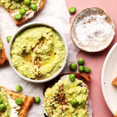 Goat Cheese and Pea Toasts
