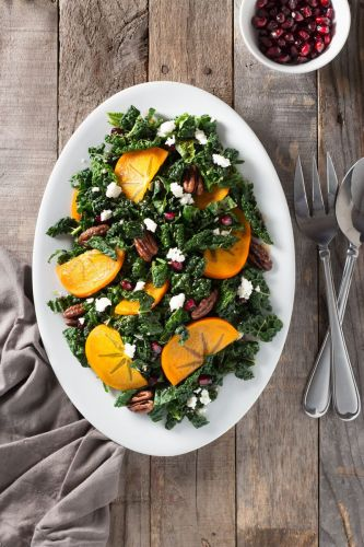Kale, Persimmon and Pomegranate Salad with Maple-Butter Pecans