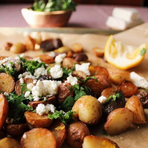 Herby potatoes with Lemon & Feta