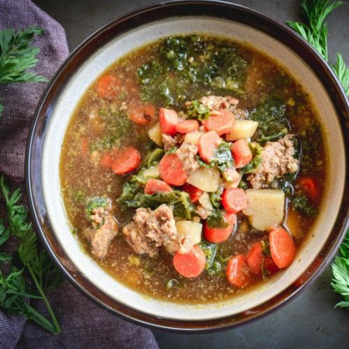 Sausage, Kale and Carrot Soup