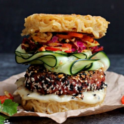 Asian Inspired Ramen Bun Burger