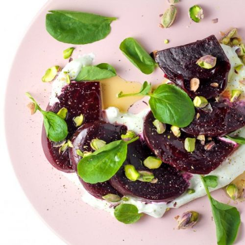Beets and Pistachios w/ Feta Cream