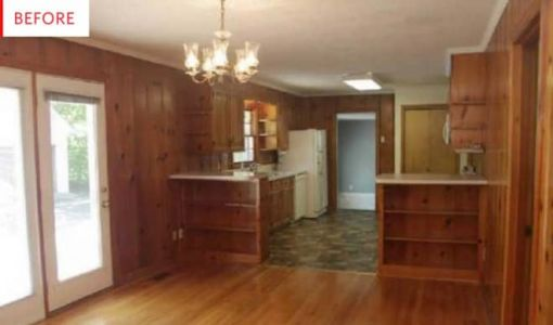 Before and After: A Little Paint Takes This Wood Paneling Nightmare to a DIY Dream