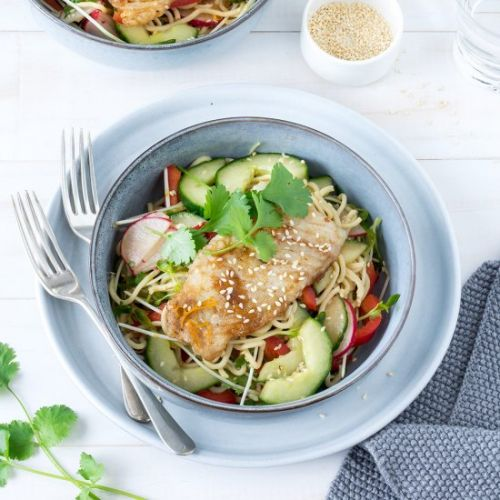 Asian-Style Fish with Noodle Salad