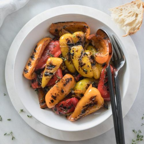 Balsamic Thyme Grilled Peppers