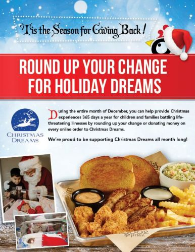 "Huey Magoo's Presents ""Round Up Your Change For Holiday Dreams"" December 1-31 Benefiting Christmas Dreams"