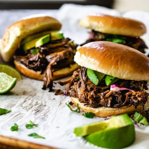 Poblano Beer Braised Beef Sandwich