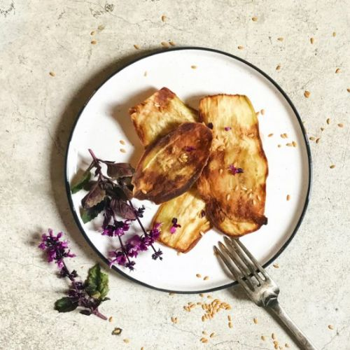 Fried aubergines with honey
