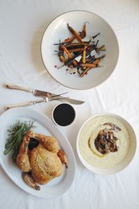 Roasted Chicken with Herbed Polenta and Rainbow Carrots