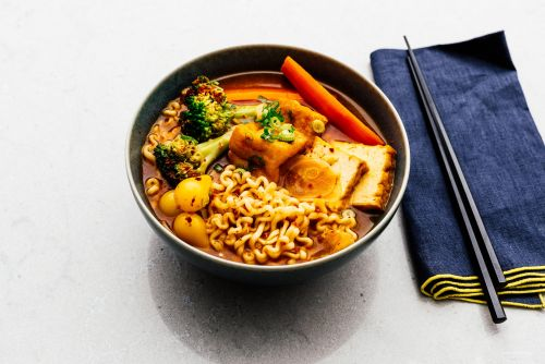 Spicy Korean Ramen Recipe with Tofu and Vegetables