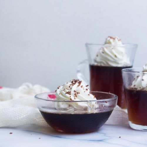 Coffee Jelly with sweetened cream