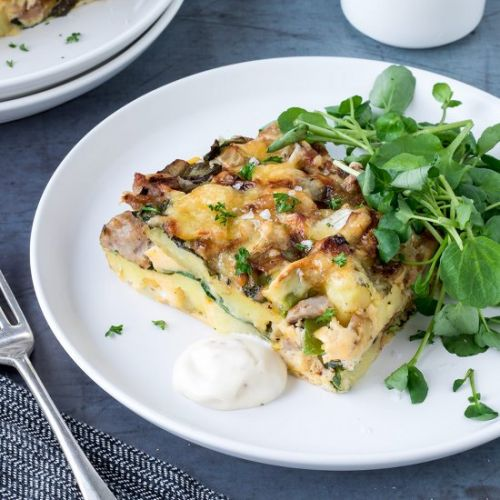 Sausage, Brie and Leek Frittata