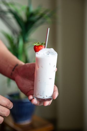 Strawberries and Bourbon Cream Cocktail