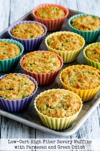 Low-Carb High-Fiber Savory Muffins with Parmesan and Green Onions