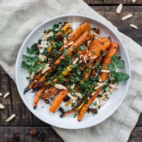 Grilled Carrots w Feta Yogurt Sauce
