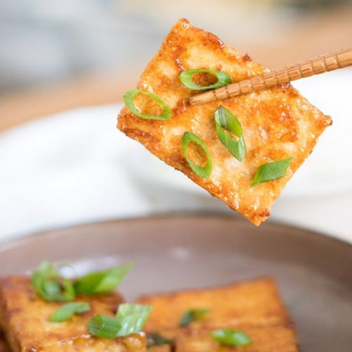 Soy sauce and butter glazed tofu