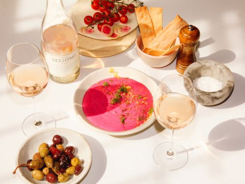 Spring Appetizer: Whipped Beet Ricotta Dip with Lemon Zest and a Glass of Rosé