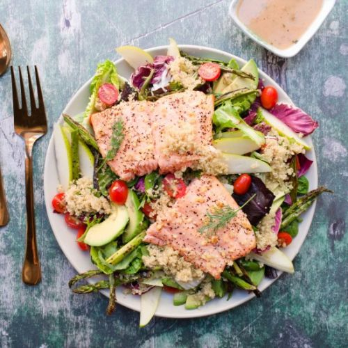 Roasted lemon garlic salmon salad