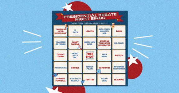 2020 Final Presidential Debate Bingo Card Drinking Game