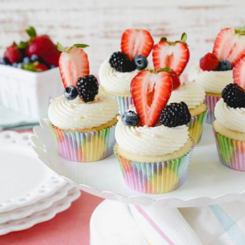 White Cupcakes with Mixed Berries