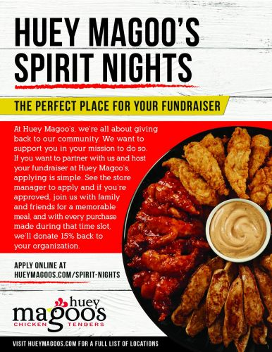 """Huey Magoo's Chicken Tenders Gives Back With The Launch Of Their Exciting Company-Wide Community Fundraising Program """"Spirit Nights"""""""
