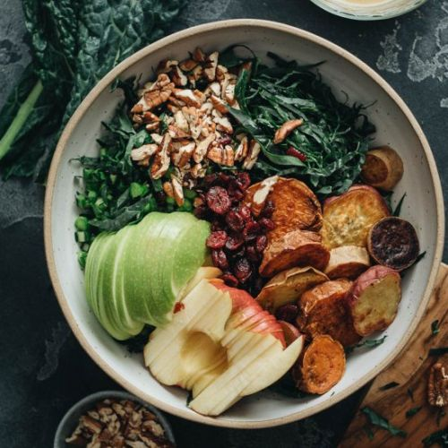 Vegan Kale Salad with Maple Mustard