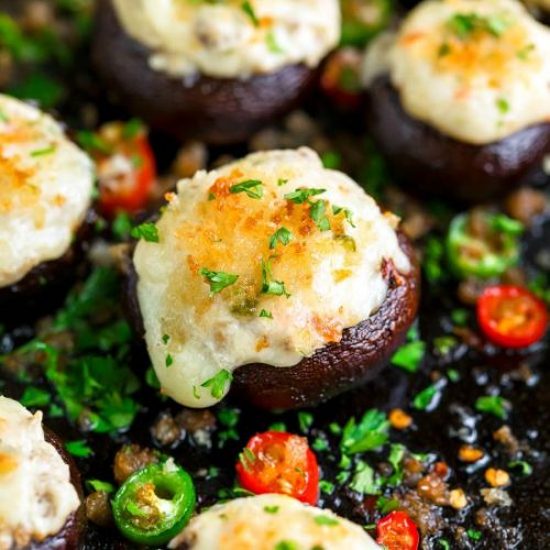 Cheesy Jalapeño Stuffed Mushrooms