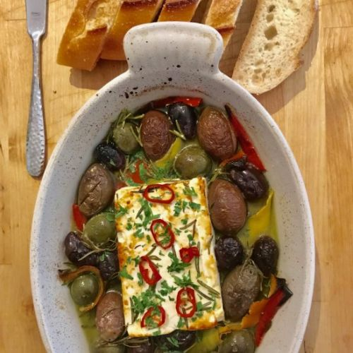 Baked Feta with Olives and Rosemary