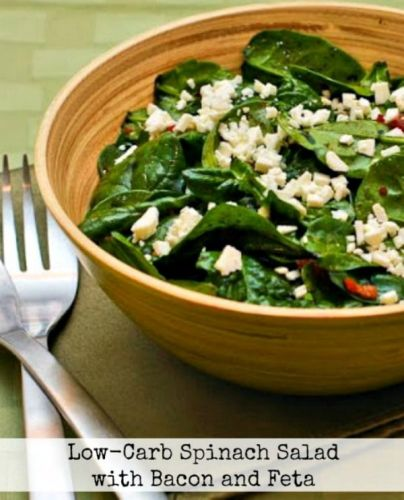 Low-Carb Spinach Salad with Bacon and Feta
