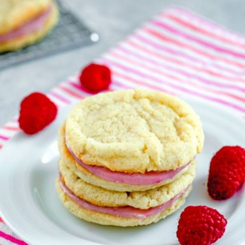 Raspberry Cream Sandwich Cookies