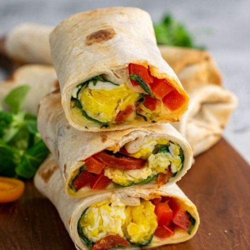 Breakfast wrap with egg and chorizo