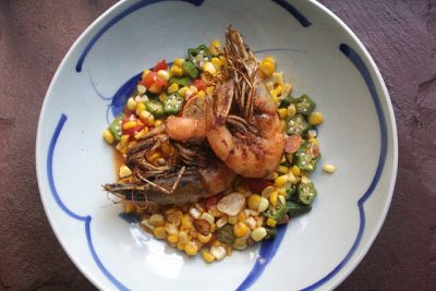 Fried Shrimp with Corn, Tomatoes and Okra