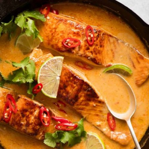 POACHED SALMON IN COCONUT SAUCE