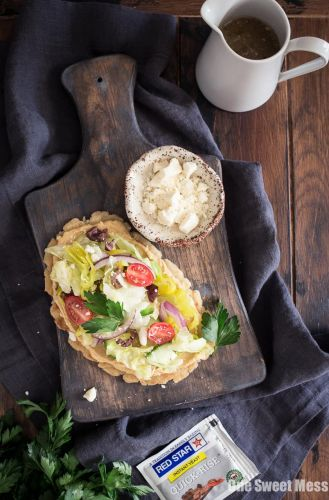 Gluten-Free Greek Salad Naan Pizza