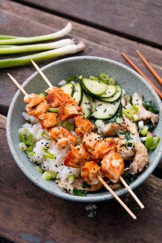 Grilled Chicken Yakitori Bowls