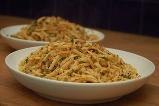 Linguine with breadcrumbs, garlic, chilli and anchovy