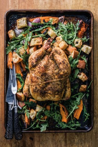 Sheet Pan Chicken with Sweet Potatoes and Arugula